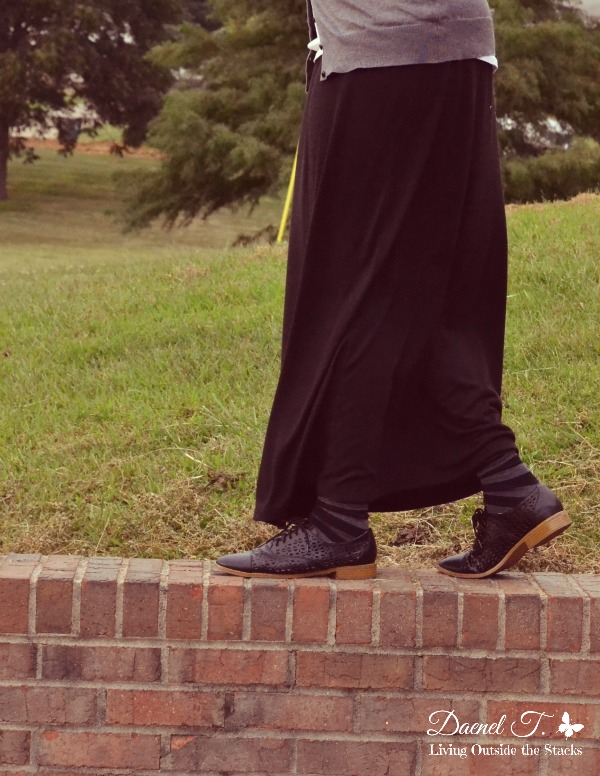 Gray Cardi White Tee Black Maxi and Black Oxfords {Living Outside the Stacks}