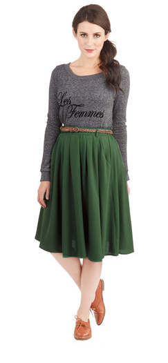Breathtaking Tiger Lilies Skirt in Stem Green {Modcloth}
