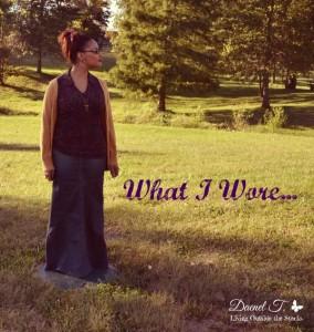 Mustard Cardi, Purple Shirt, and Denim Skirt {Living Outside the Stacks}
