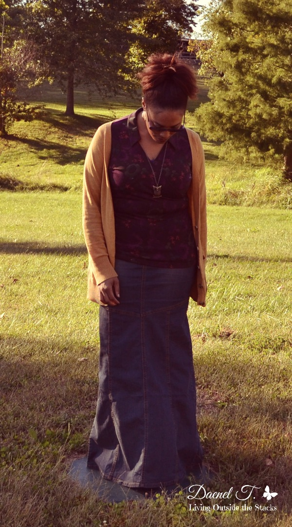 Mustard Cardi, Purple Shirt, and Denim Skirt {Living Outside the Stacks}