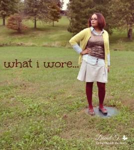 Citron Sweater Sequin Tank Denim Shirt Khaki Skirt and Burgundy Tights {Living Outside the Stacks}
