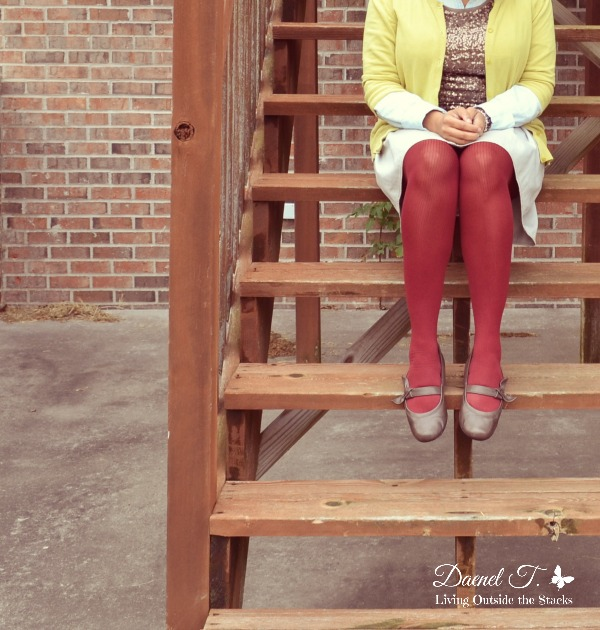 Citron Sweater Sequin Tank Denim Shirt Khaki Skirt and Burgundy Tights {Living Outside the Stacks}