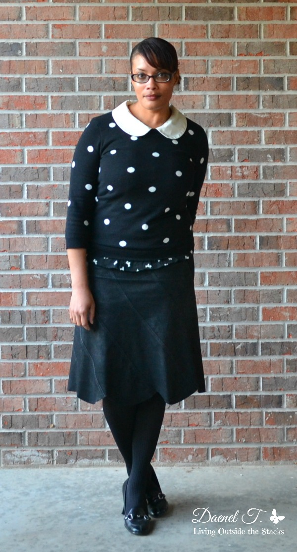 Black and White Polka Dot Sweater and Black Skirt {Living Outside the Stacks}