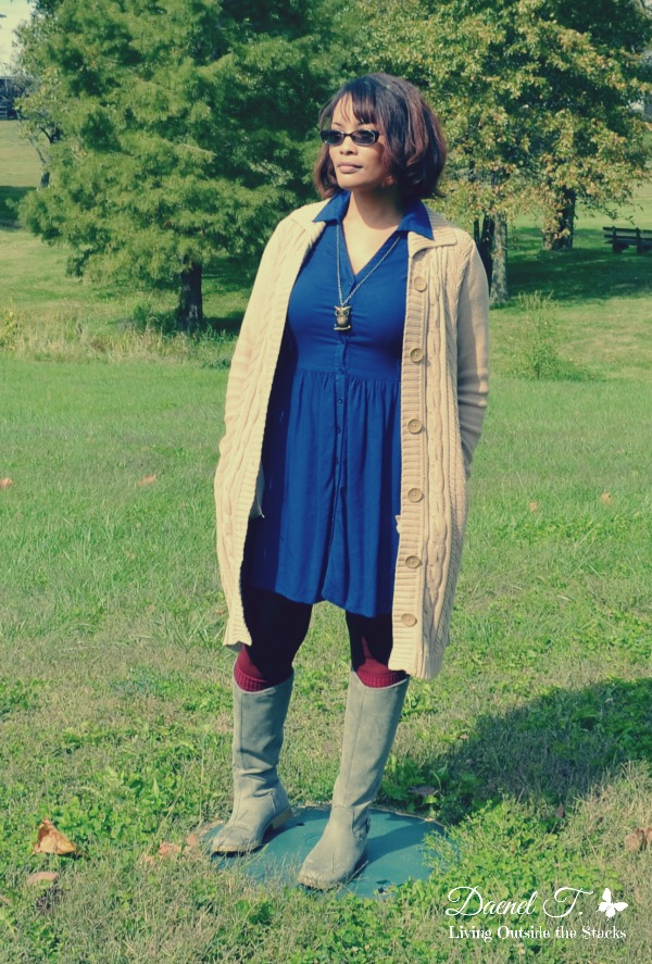 Tan Cardigan, Blue Dress, Burgundy Tights, and Gray Boots {Living Outside the Stacks}