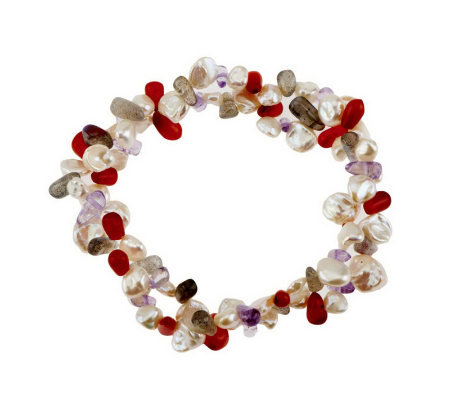 Honora Cultured Keshi Pearl and Gemstone Stretch Bracelet QVC  - Transitional Style Wish List {Living Outside the Stacks}