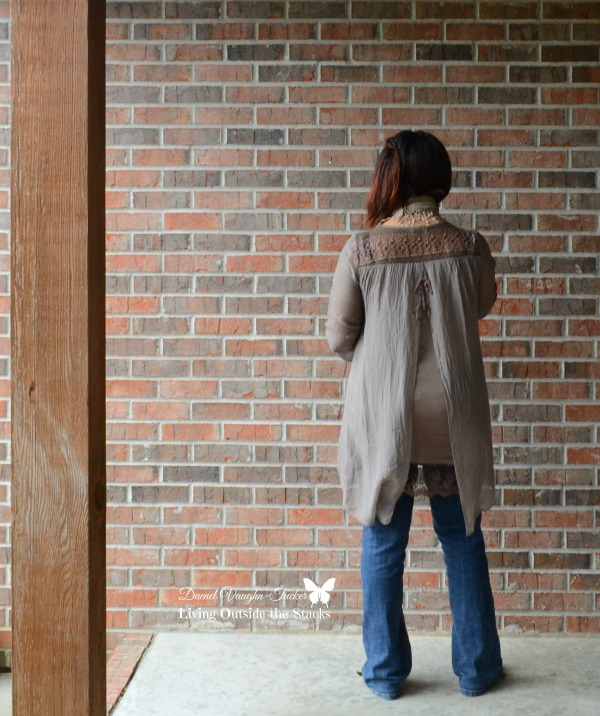 Neutral Top Scarf and Jeans {Living Outside the Stacks}