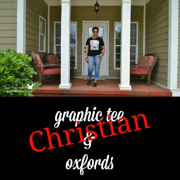 Christian Graphic Tee and Oxfords {Living Outside the Stacks}