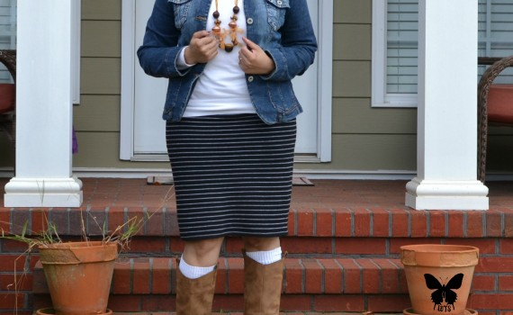 Denim Jacket White Sweater Black and White Striped Skirt and Boots {living outside the stacks}
