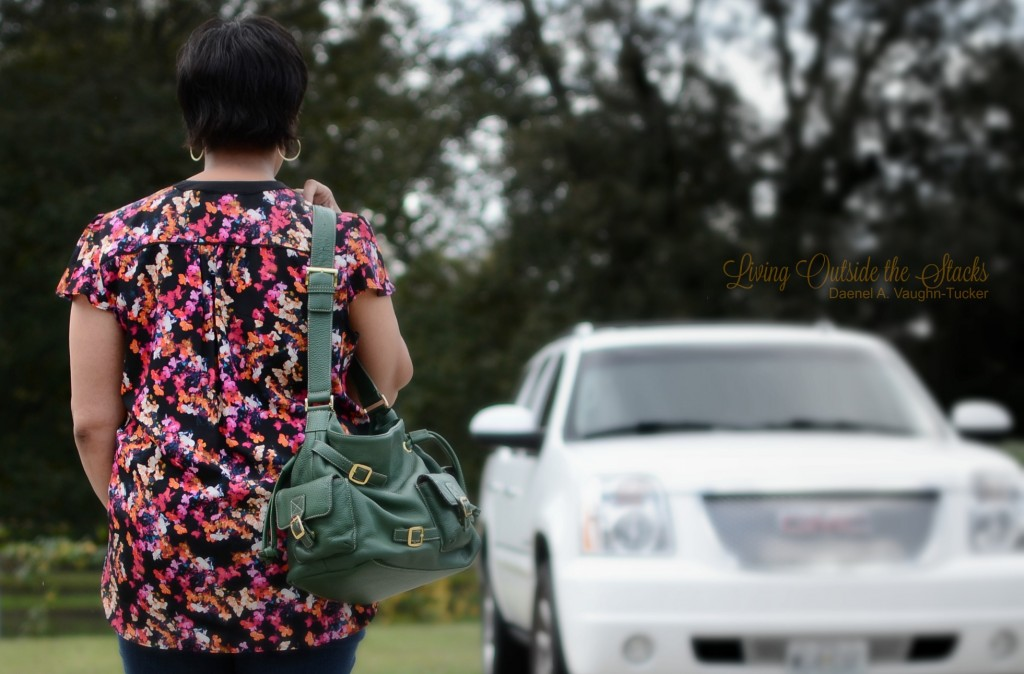 Floral Top Jeggings Leopard Print Shoes and Green Bag {living outside the stacks}