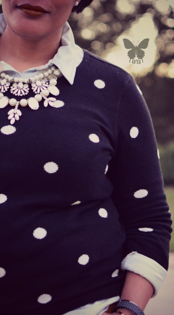 Polka Dot Sweater Mustard Pants and Black Oxfords {living outside the stacks}