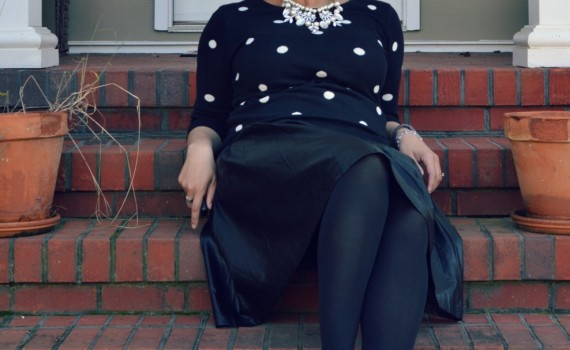 Black Polka Dot Sweater and Faux Leather Midi Skirt {living outside the stacks}