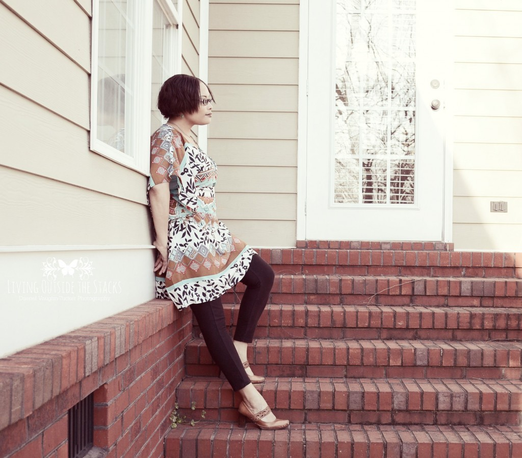 Multicolored Caftan Black Leggings and Clarks Shoes {living outside the stacks}