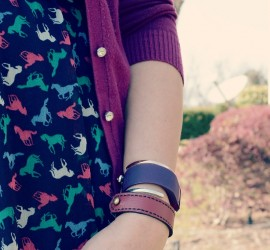 Berry Sweater Multicolored Horse Print Dress Black Tights and Berry Clarks {living outside the stacks}