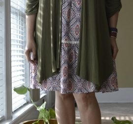 Olive Cardigan Print Dress and Neutral Clogs {living outside the stacks} #livingoutsidethestacks