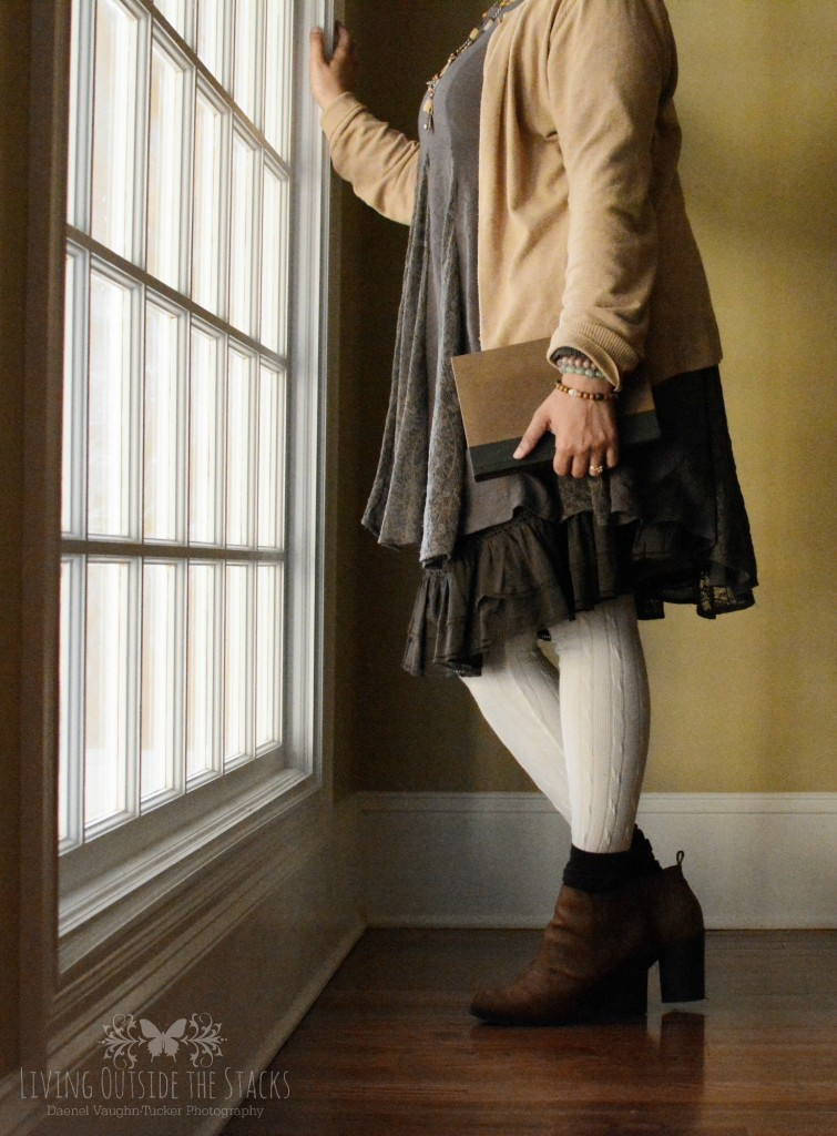 Tan Cardigan Olive Dress White Sweater Leggings and Brown Ankle Boots {living outside the stacks}