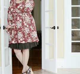 Floral Dress Brown Skirt and Brown Wedges {living outside the stacks}