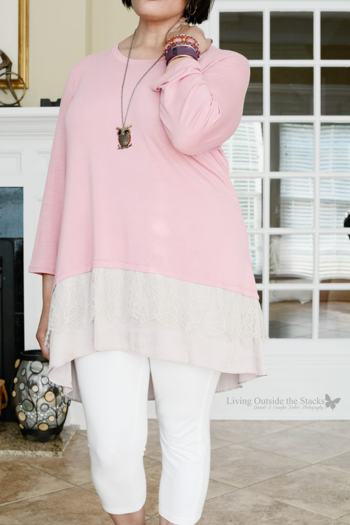Petal Pink Logo Top White Capri Leggings and Gladiator Sandals {living outside the stacks}
