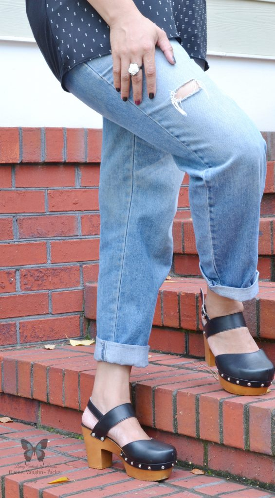 Black Polka Dot Blouse Jeans and Clogs {living outside the stacks}