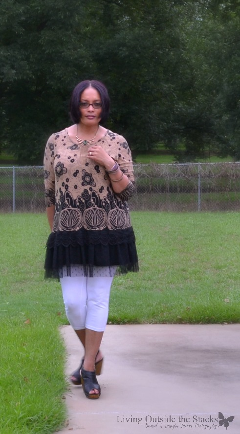 Brown and Tan Lace Bottom Tunic from #Zulily with White Leggings from #Kmart and Wedges from #Target {living outside the stacks}