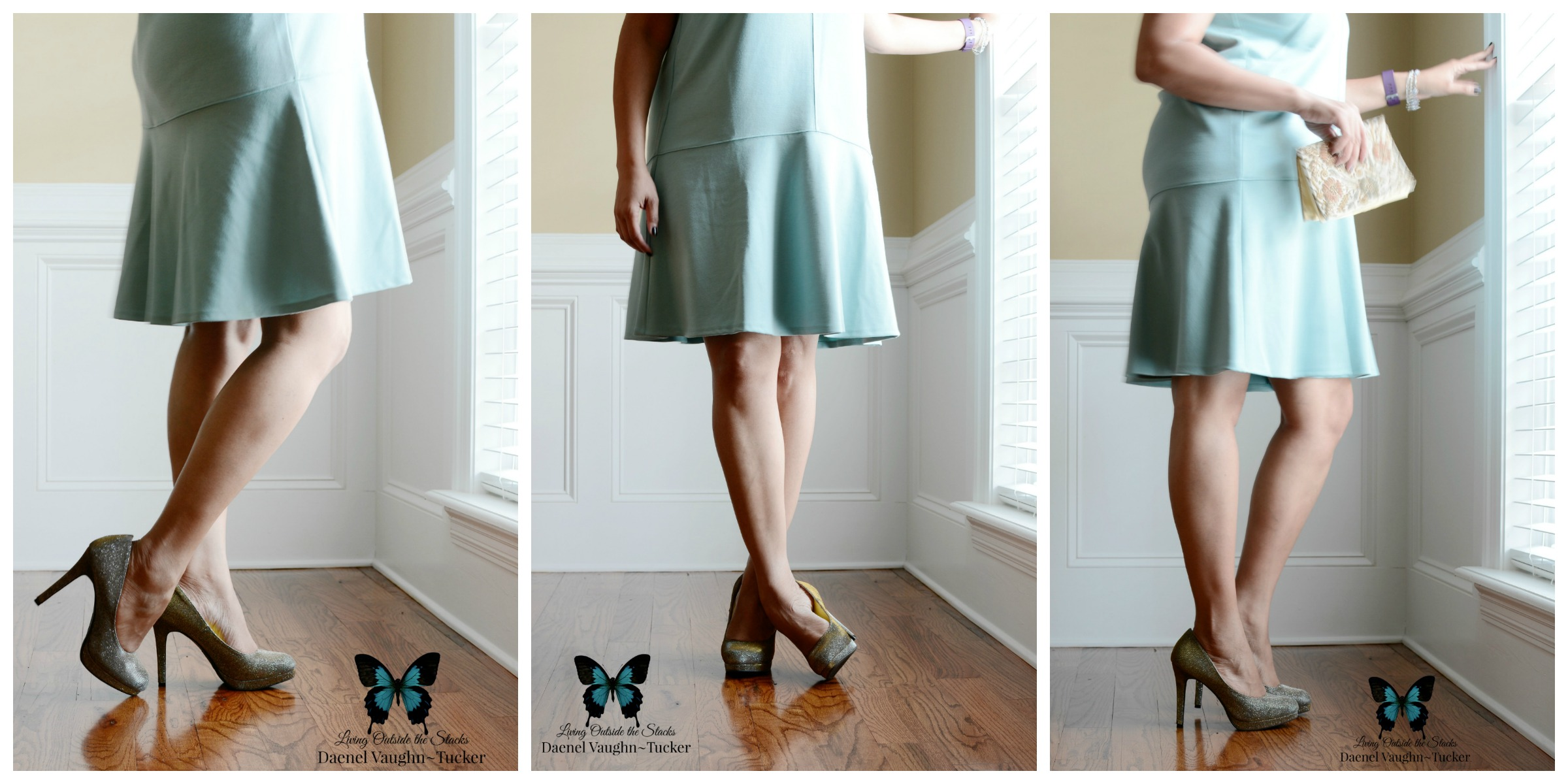 Teal Dress with Vintage Beaded Clutch {living outside the stacks}