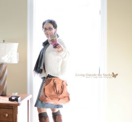 Chunky Sweater Scarf Arm Warmers Denim Skirt and Brown Boots {living outside the stacks}