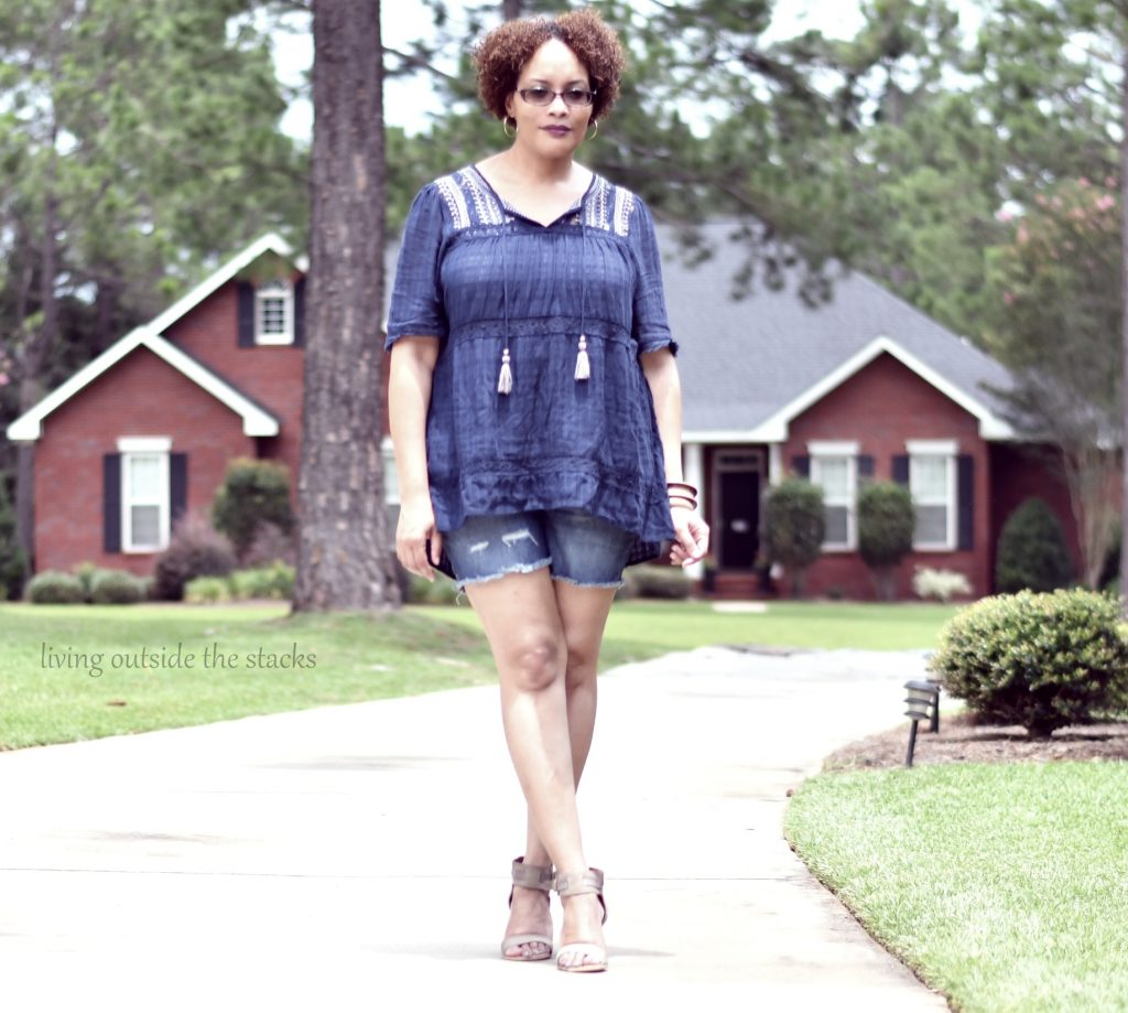 Blue Peasant Top Denim Shorts and Miz Mooz Sandals #AgelessStyleLinkup {living outside the stacks}