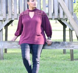 Marsala Keyhole Top with Black Skinny Pants and Leopard Flats {living outside the stacks}
