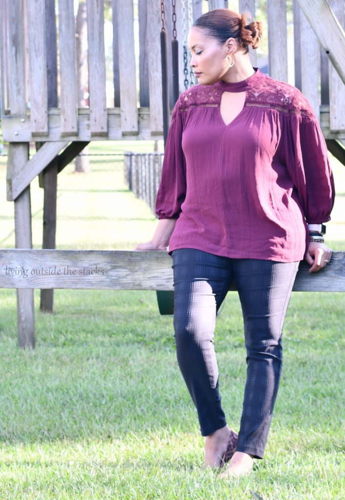 Madiera Wine Keyhole Top with Black Skinny Pants and Leopard Flats {living outside the stacks}