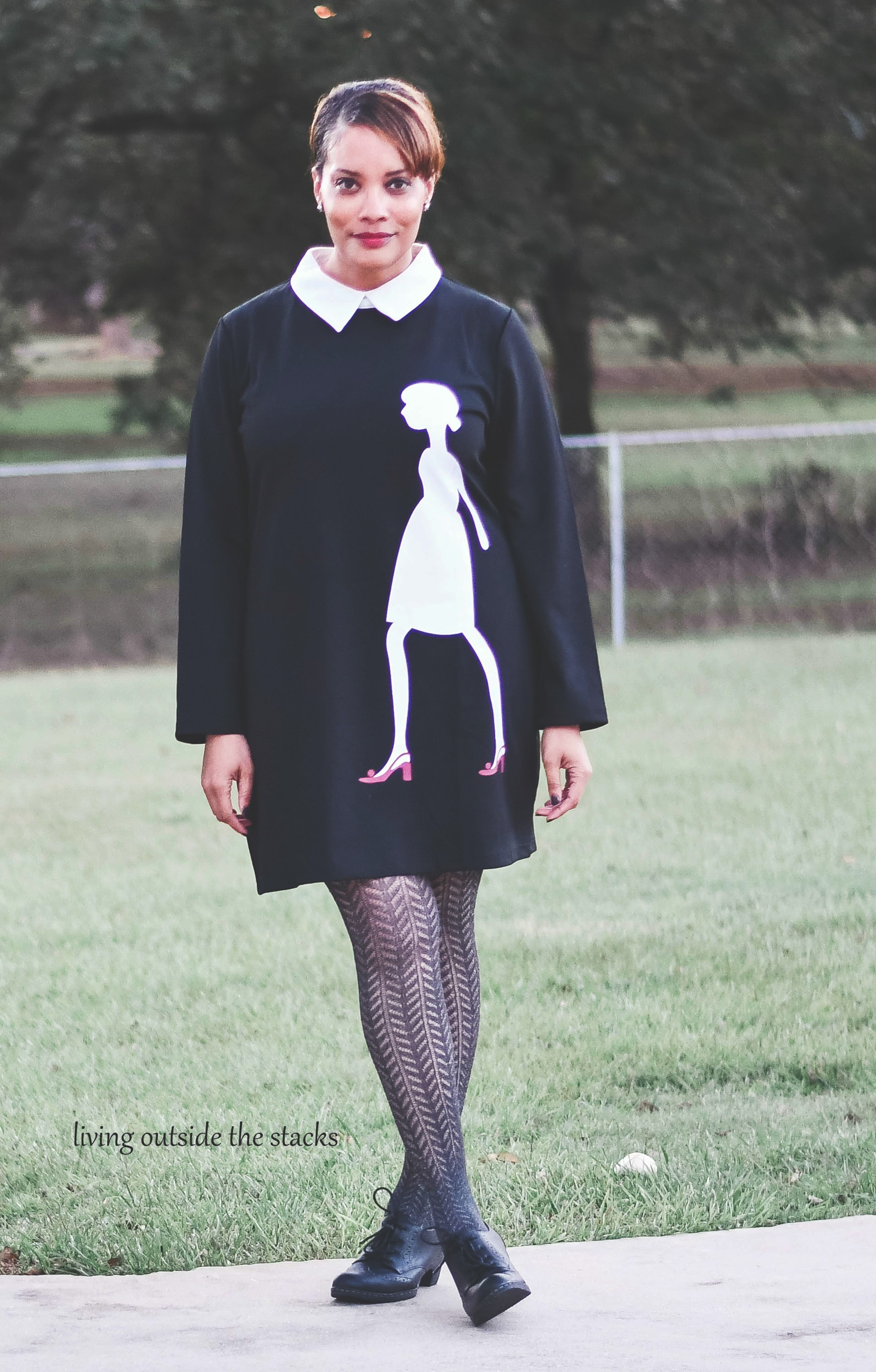 Black Sheath Dress Gray Stockings and Black Oxfords {living outside the stacks}