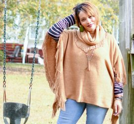 Camel Poncho Striped Tee and Jeans {living outside the stacks}