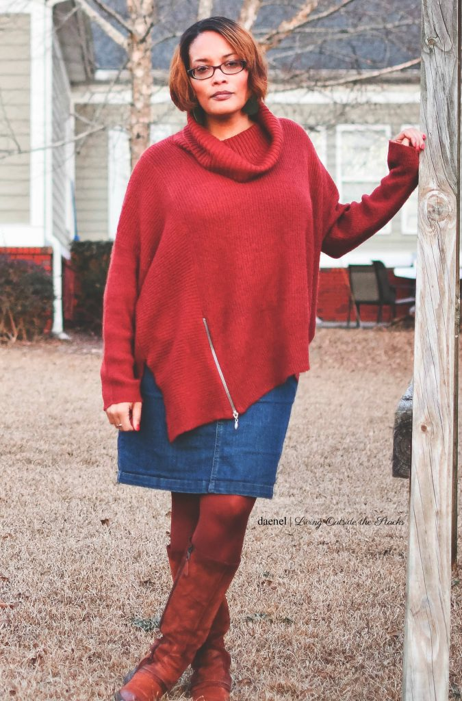 DAT_5863 Oversized Burgundy Sweater Denim Skirt Burgundy Tights and Brown Boots {living outside the stacks}