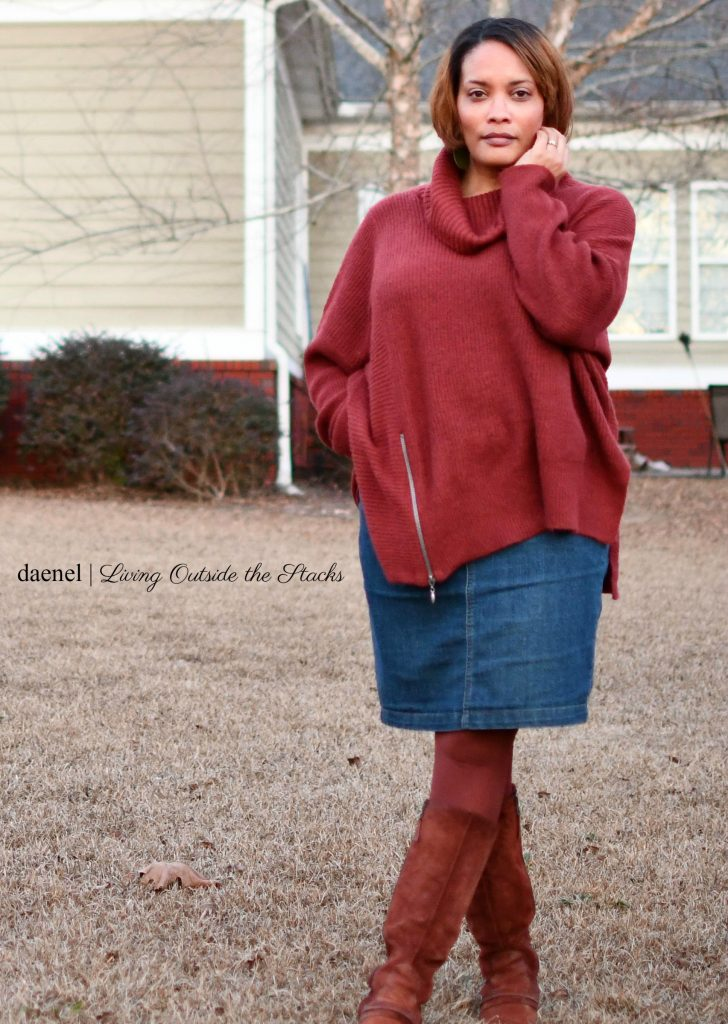 DAT_5865 Oversized Burgundy Sweater Denim Skirt Burgundy Tights and Brown Boots {living outside the stacks}