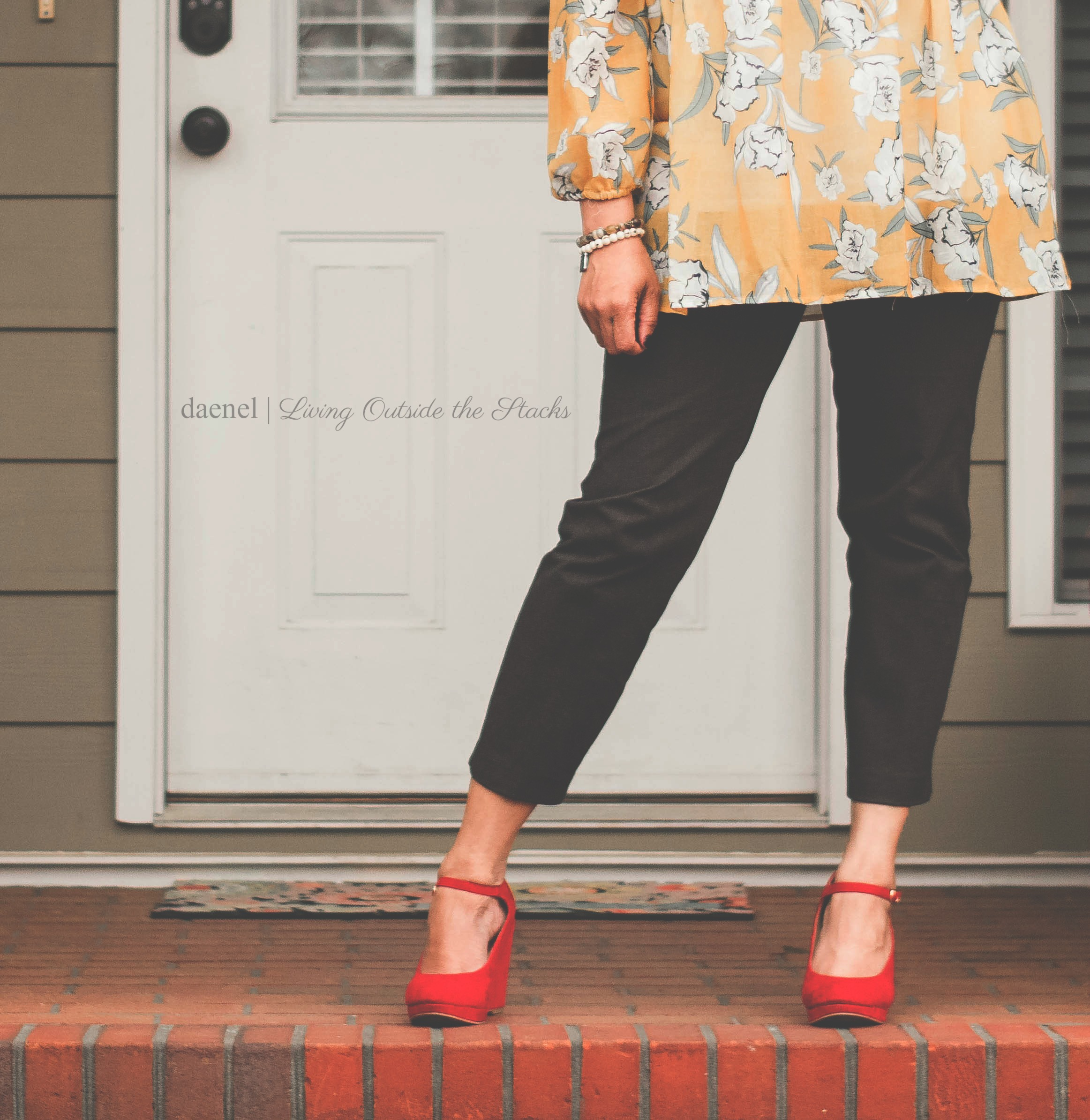 Ageless Style Linkup {living outside the stacks} Yellow Top Gray Ankle Pants and Red Mary Janes