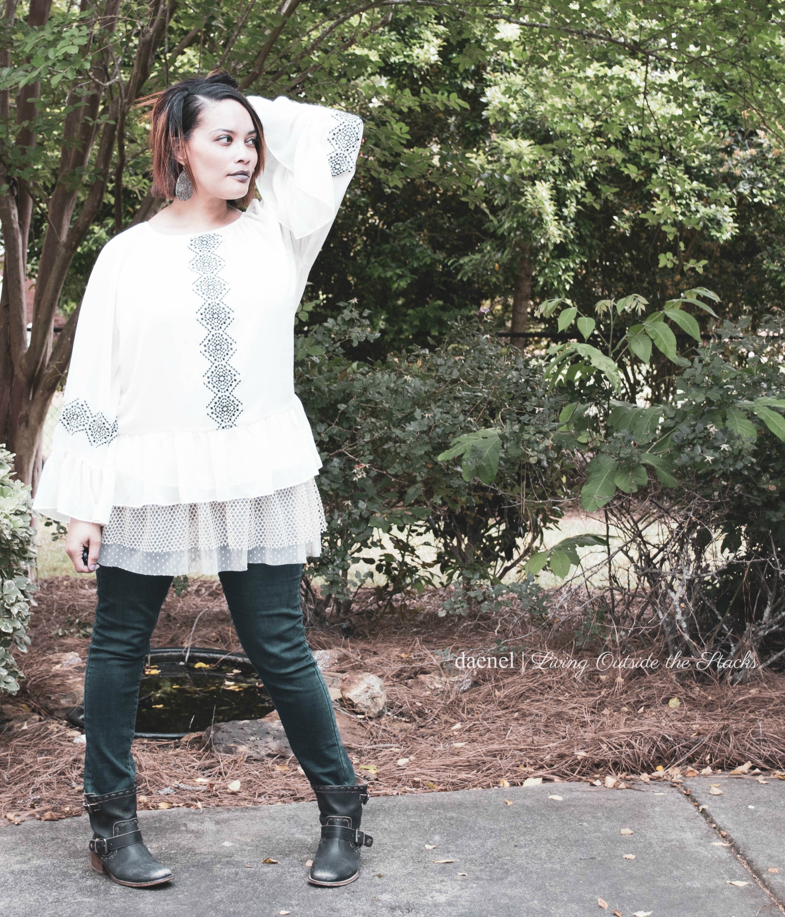 Aztec Print Blouse Jeggings and Boots {living outside the stacks}
