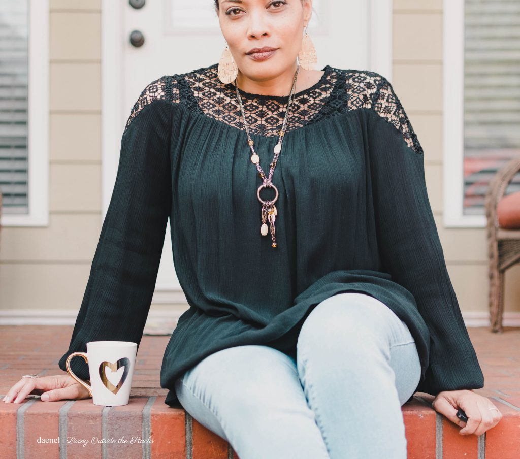 Black Peasant Blouse Jeans and Ankle Wrap Flats {living outside the stacks
