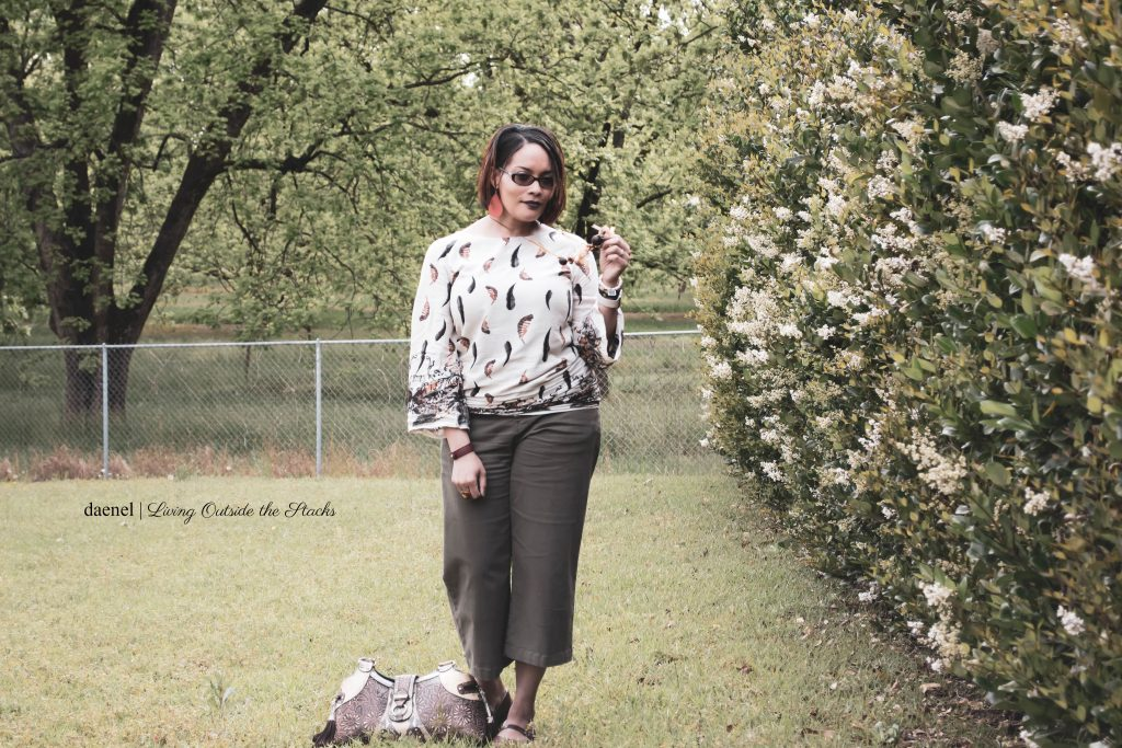 Feather Print Top Olive Cropped Pants and Brown Mary Jane Shoes {living outside the stacks}