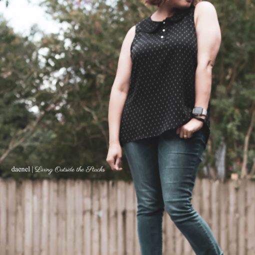 Black Polka Dot Blouse Skinny Jeans and Ankle Wrap Ballet Flats {living outside the stacks}