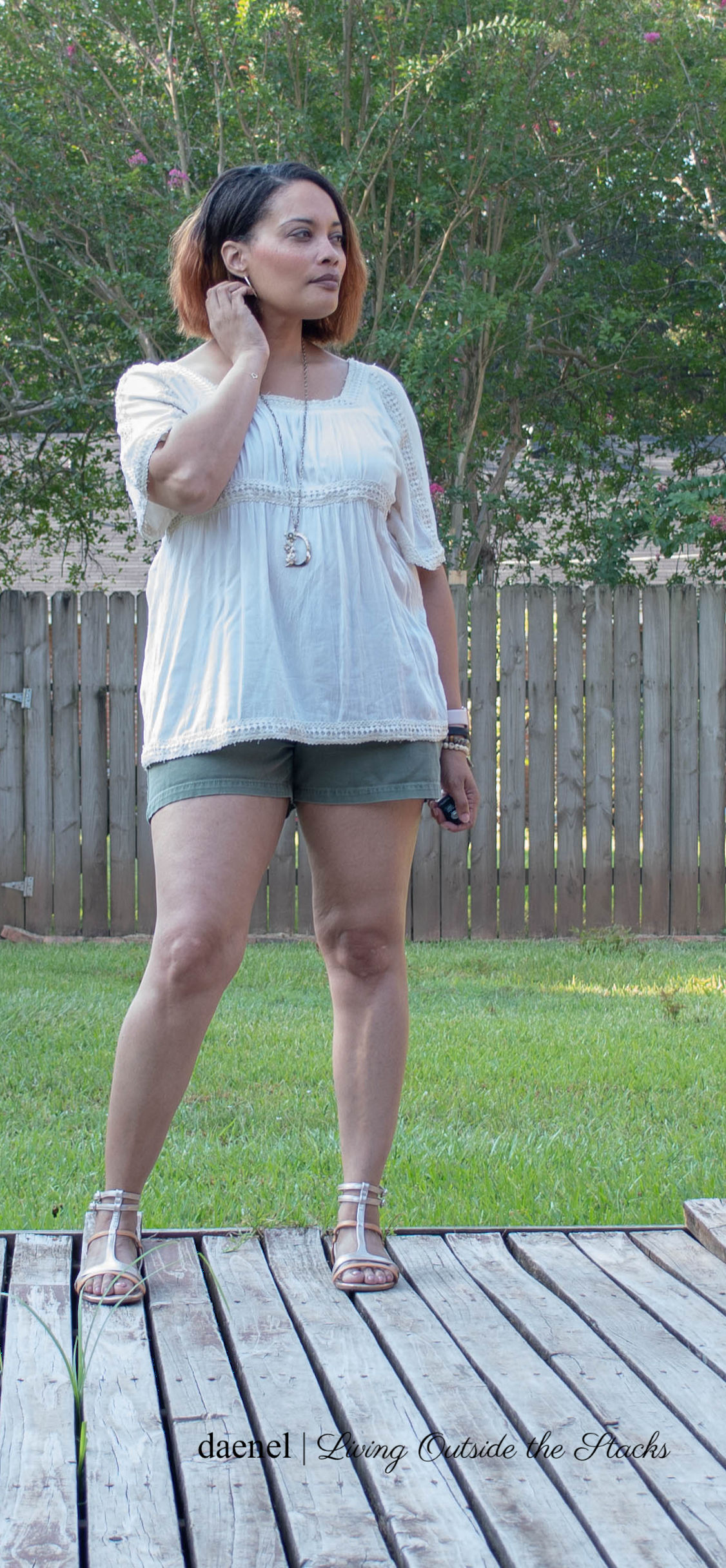 Cream Peasant Top with Olive Shorts and Gold Gladiator Sandals {living outside the stacks
