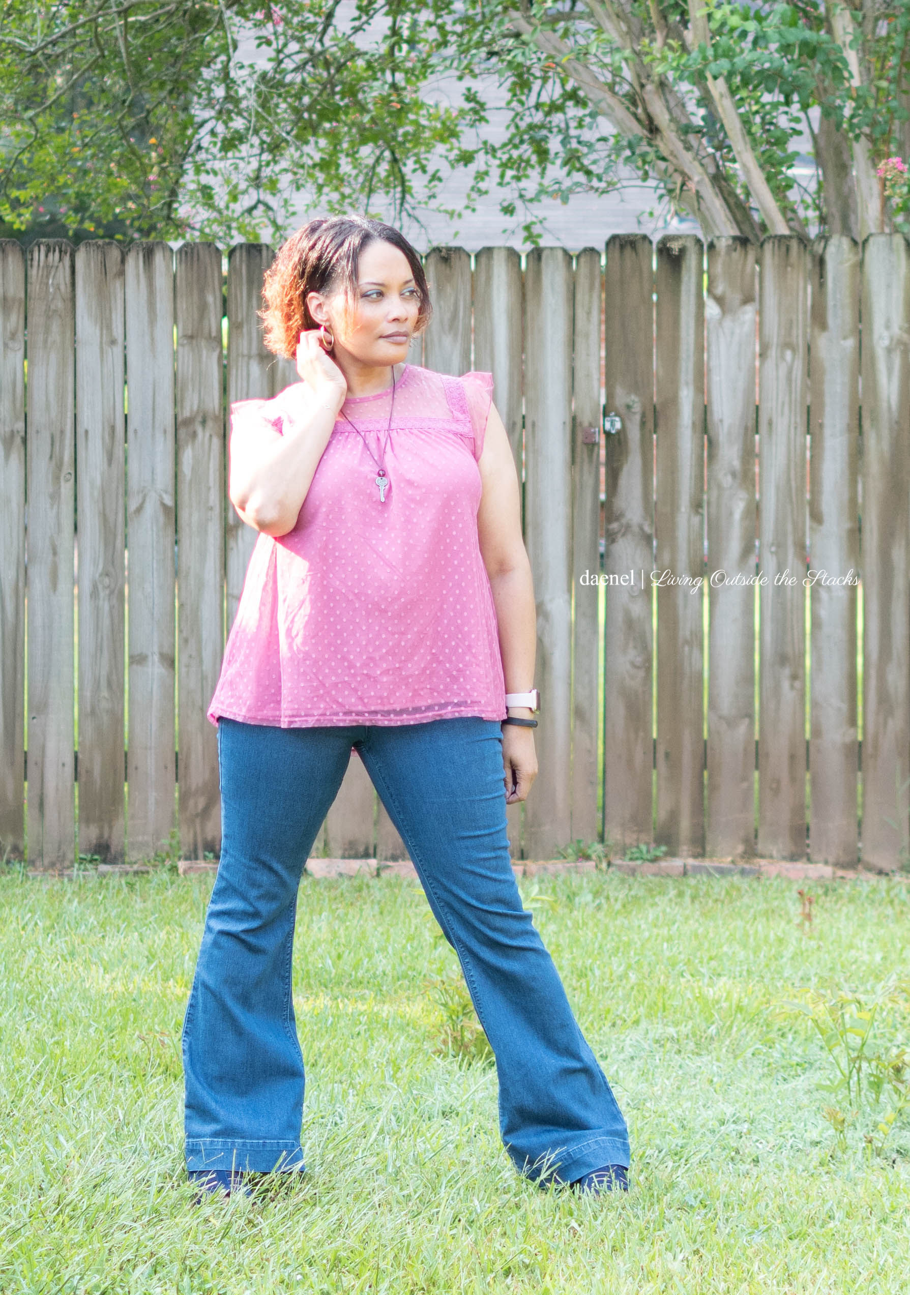 Laurie Felt Flare Leg Jeans and Mauve Baby Doll Top with Skechers Shoes {living outside the stacks} #NiceJeans