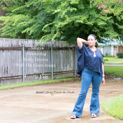 My #NiceJeans Story featuring Silky Denim Pull-On Flare Jeans by Laurie Felt {living outside the stacks}