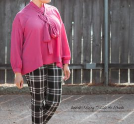 Cranberry Criss Cross Blouse by Laurie Felt Plaid Pixie Pants by Old Navy and Black Oxfords {living outside the stacks}