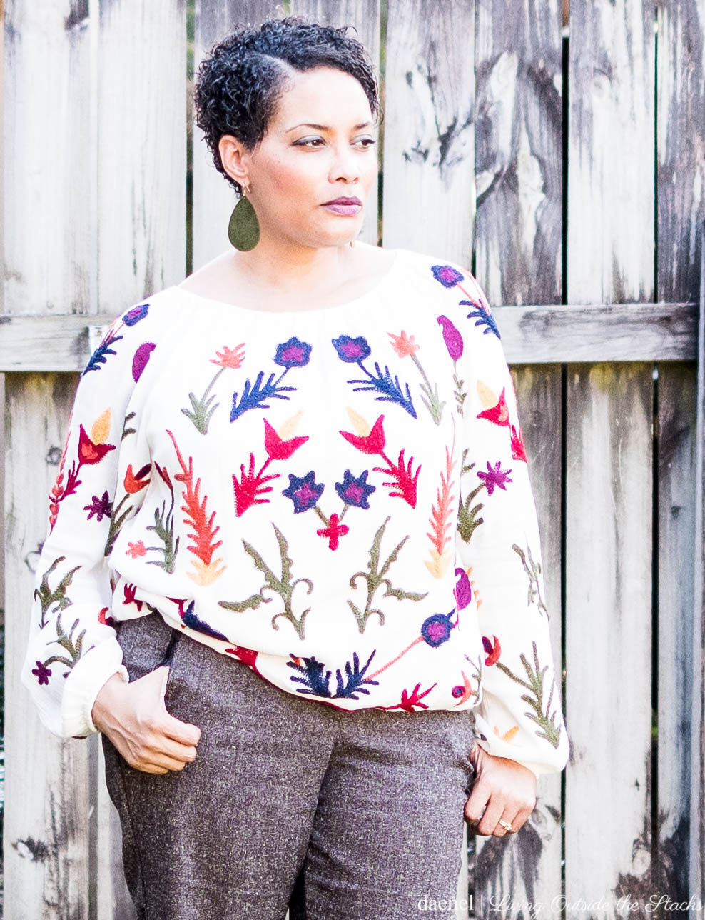 Laurie Felt Embroidered Boho Style Round Neck Blouse Tweed Pants and LOGO by Lori Goldstein Color-Block Shoe {living outside the stacks}