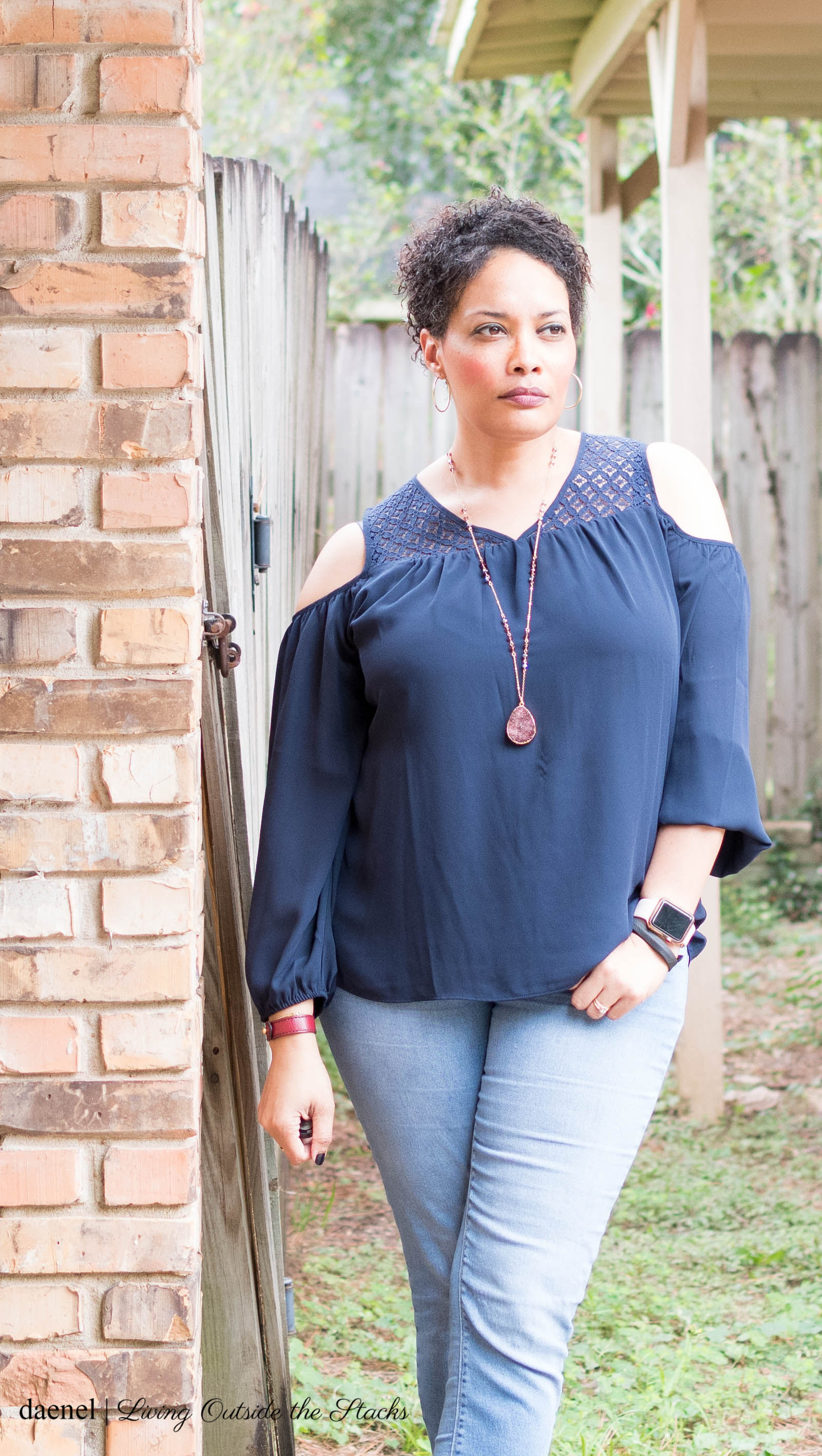 Ageless Style Linkup {living outside the stacks} Fall Colors Navy Blue Laurie Felt Hollywood Blouse Skinny Jeans andBlack Musse and Cloud Booties