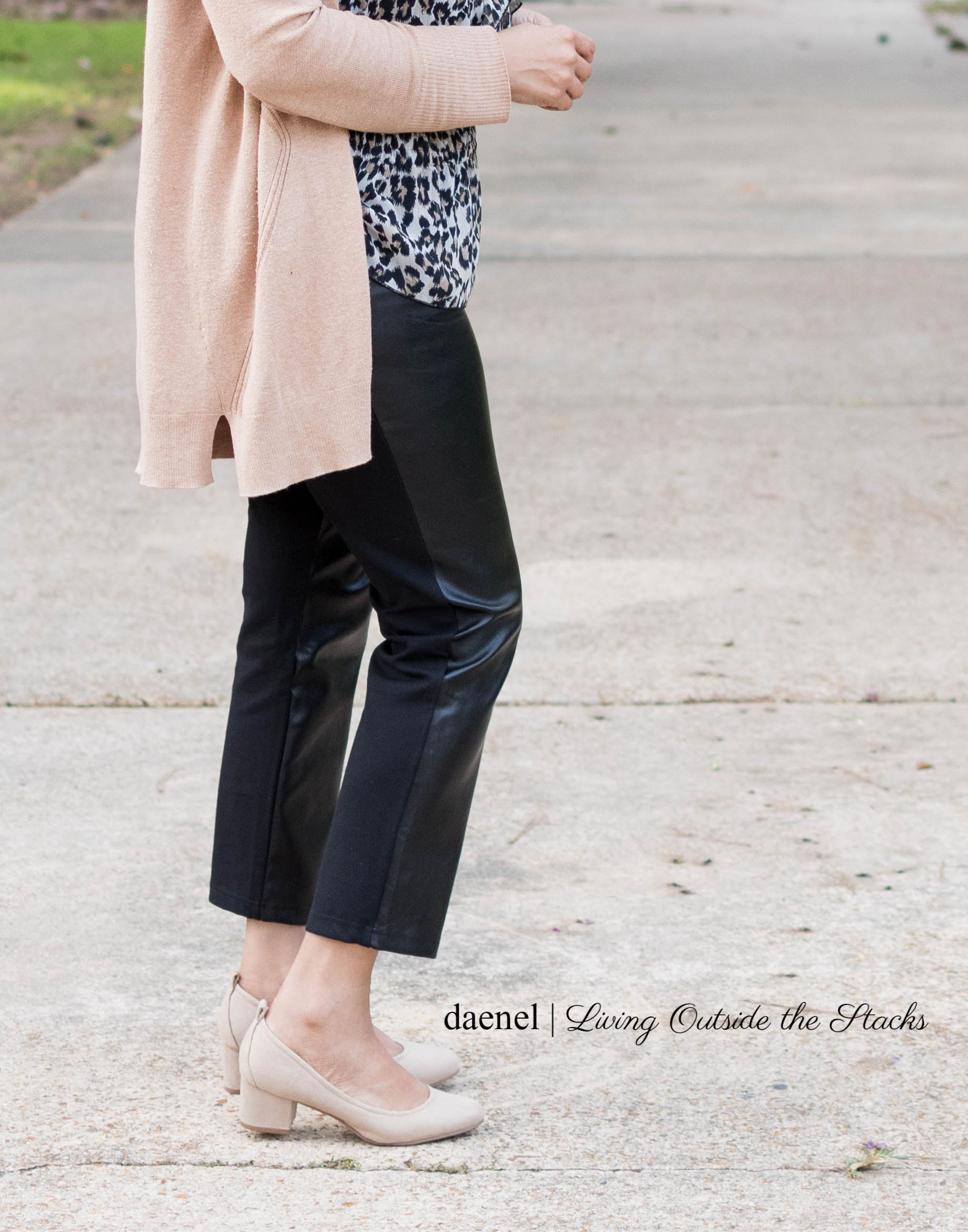 Camel Cardi Animal Print Blouse Faux Leather Pants and Nude Pumps {living outside the stacks}