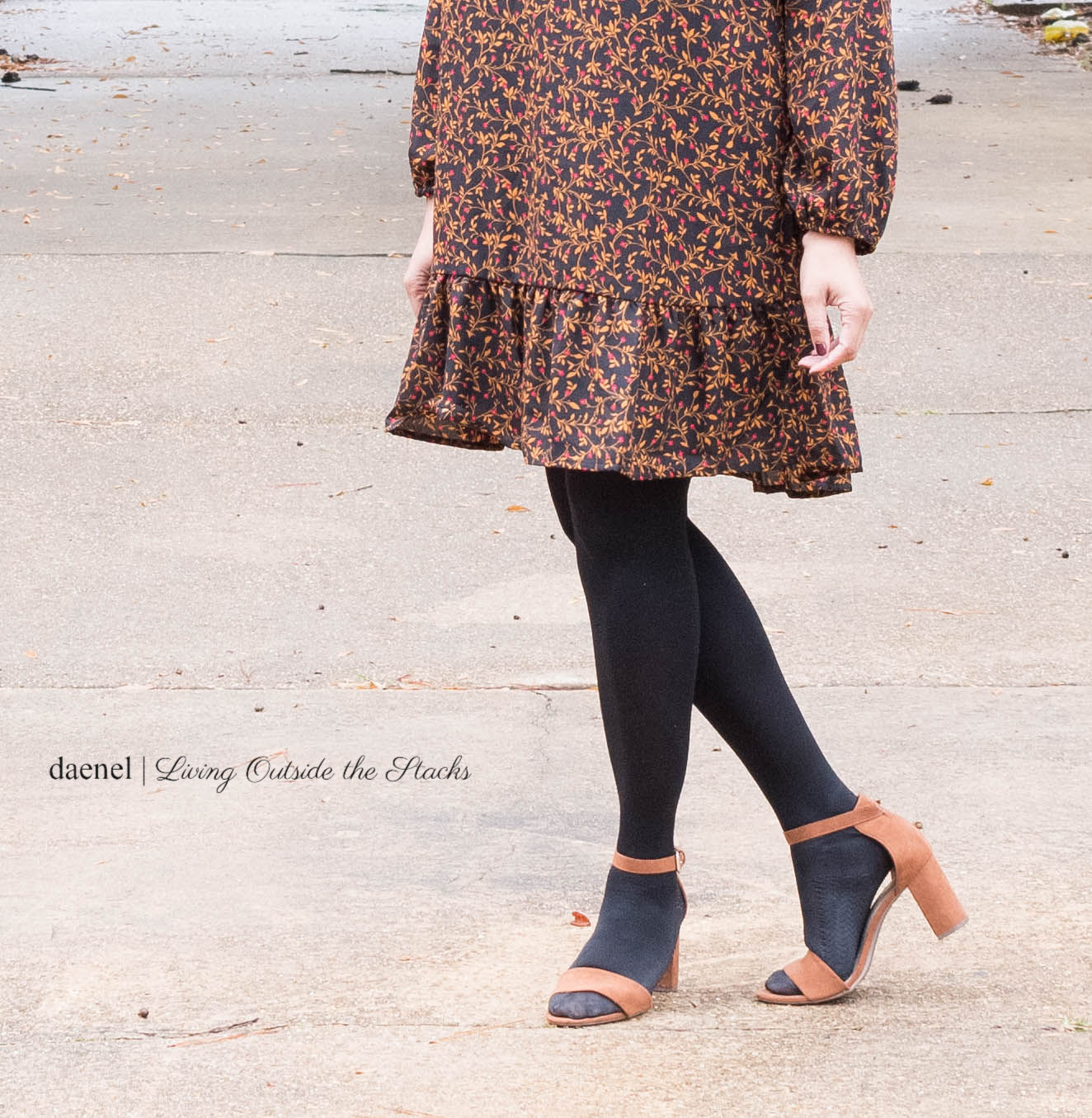 Black Floral Dress Black Tights and Brown Sandals {living outside the stacks} #StyleImitatingArt