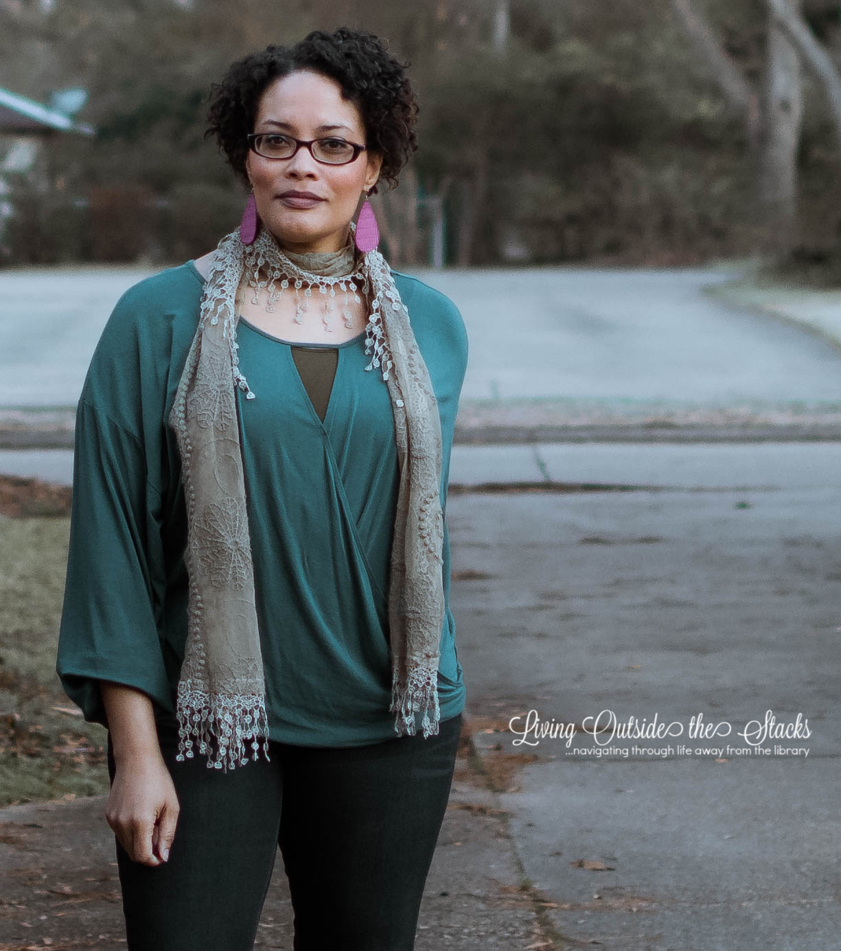 Taupe Scarf Teal Top Olive Tank Indigo Bootcut Jeans and Brown Ankle Boots {living outside the stacks} #StyleImitatingArt