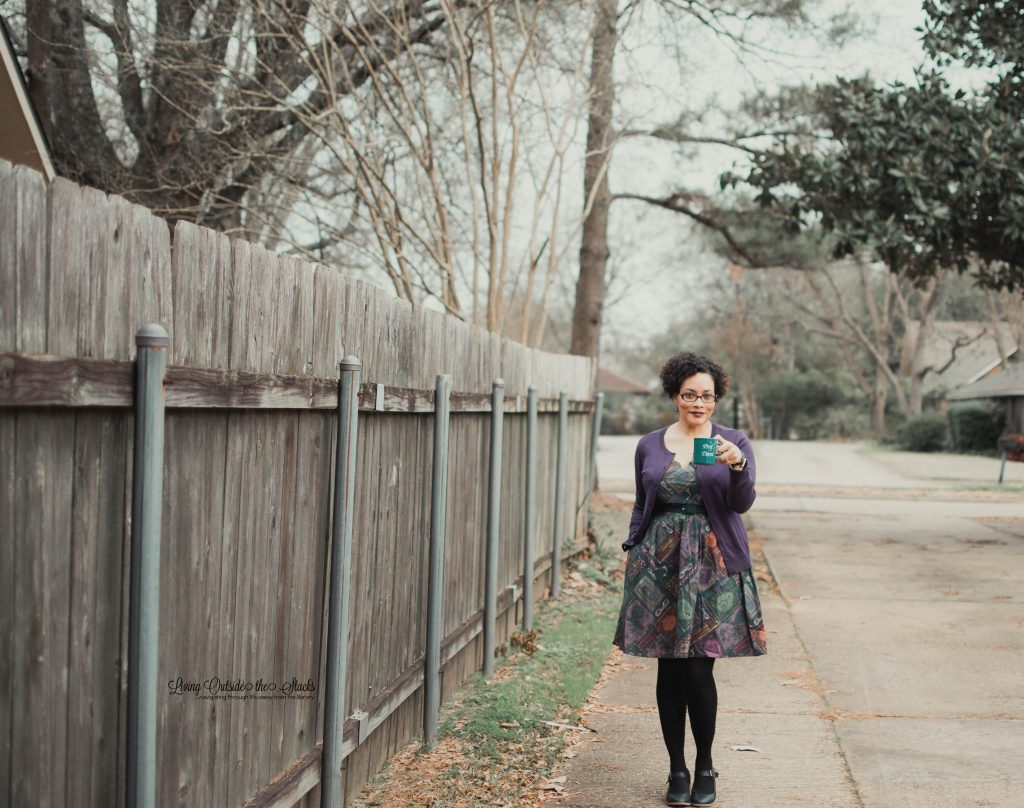 Purple Cardigan Library Books Dress with Black Tights and Navy Mary Janes {living outside the stacks}