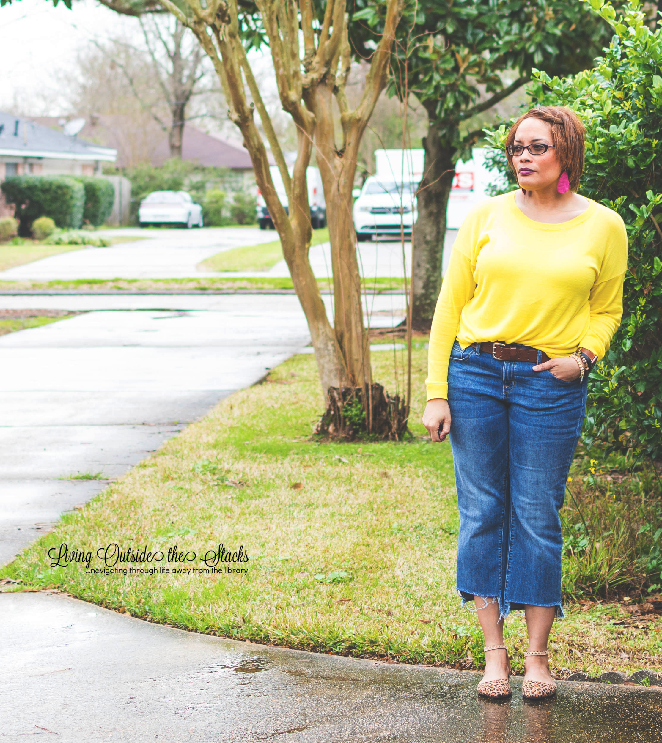 Neon Sweater Jeans and Animal Print Shoes {living outside the stacks}
