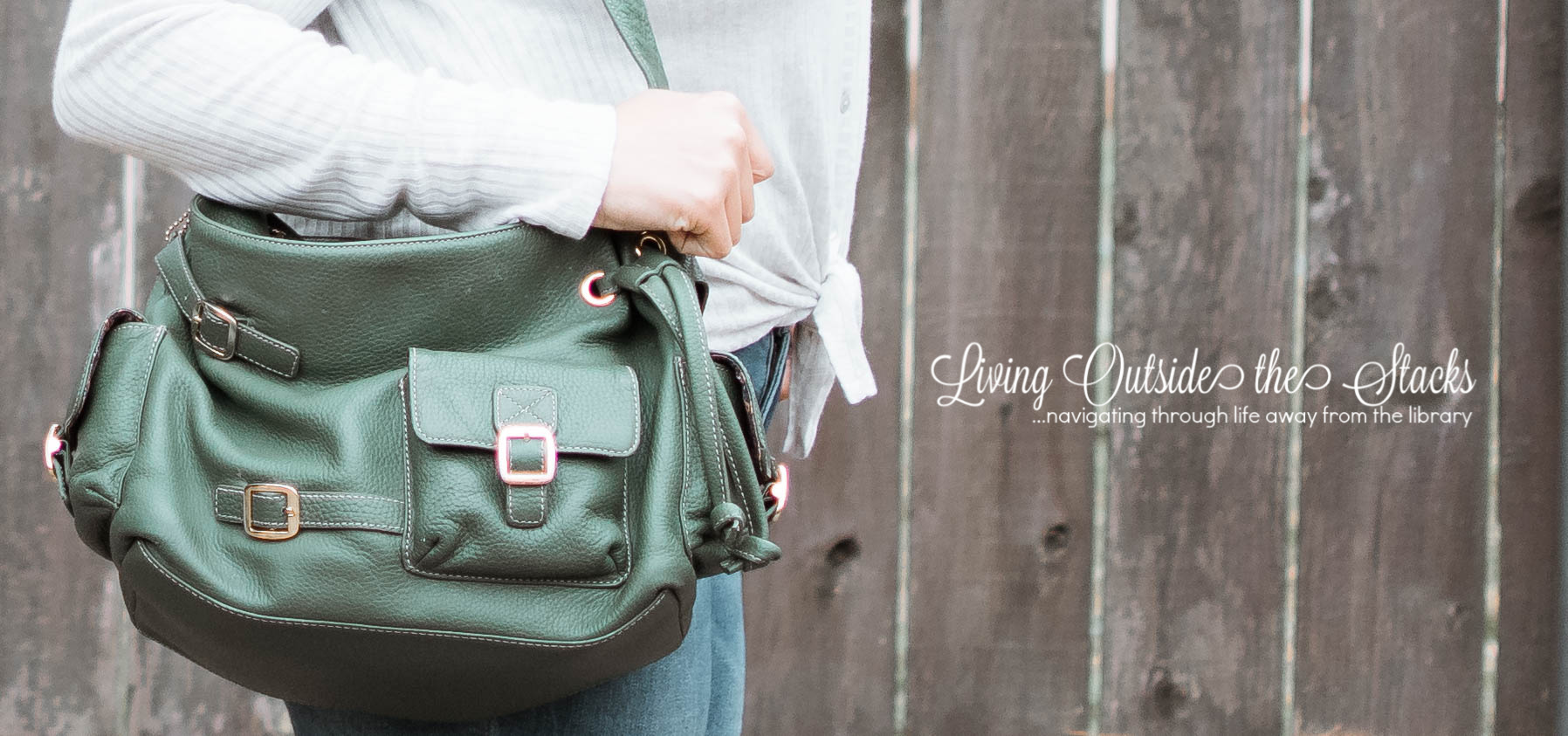 Gray Sweater Skinny Jeans Sandals and Green Bag {living outside the stacks}
