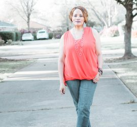 Red Sleeveless Top Boyfriend Jeans and Gray Pumps {living outside the stacks}